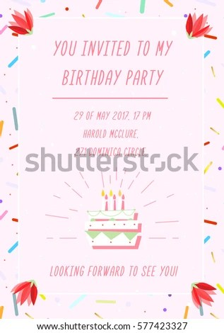 Birthday Invitation Card On Geometric Background Stock Photo (Photo - invitation forms