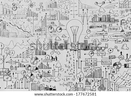 Background Image Business Sketches On White Stock Illustration - background sketches