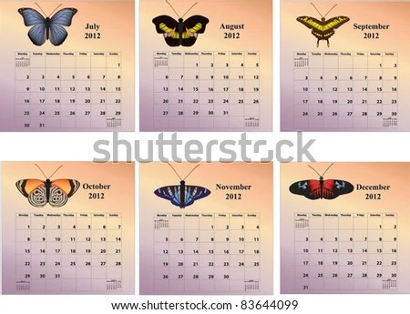 2012 Sixmonth Butterfly Calendars Week Starting Stock Vector (2018