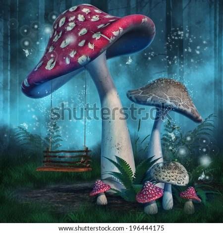 3d Mushroom Garden Wallpaper Fairy Mushroom Stock Photos Images Amp Pictures Shutterstock