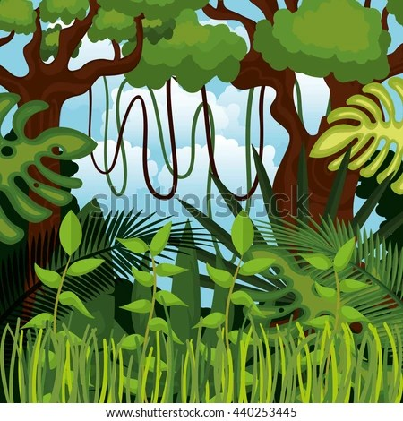 Colorful Animal Print Wallpaper Seamless Pattern Wild Animals Jungle Thickets Stock Vector