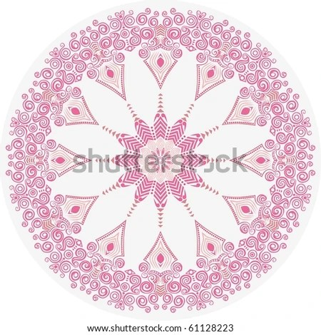 Cherry Blossoms Falling Stylized Wallpaper Colorful Round Lacy Tantric Ornament Hand Stock Vector