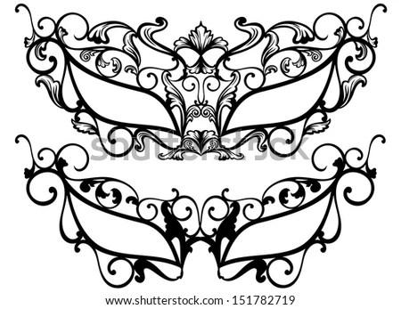 raster - ornate carnival masks outline - black over white by - senior buyer resume