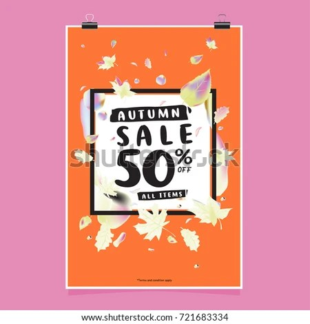 Vector Autumn Sale Poster Template Lettering Stock Photo (Photo - for sale poster template