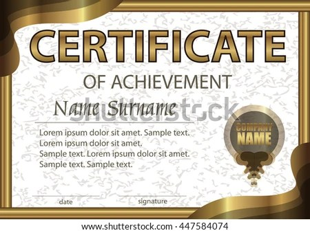 Certificate Achievement Horizontal Template White Paper Stock Vector - Award Paper Template