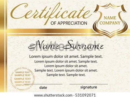 Template Certificate Appreciation Elegant Gold Design Stock Vector - Sample Certificate Of Appreciation