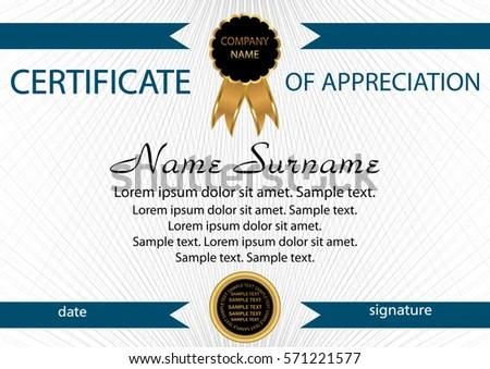 Template Certificate Appreciation Elegant Background Winning Stock - certificate of appreciation template