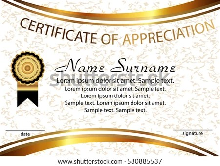 Template Certificate Appreciation Elegant Background Winning Stock