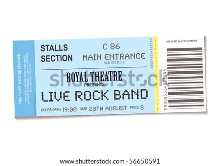 Sample Concert Ticket Realistic Look Date Stock Vector 56650591 - free concert ticket template
