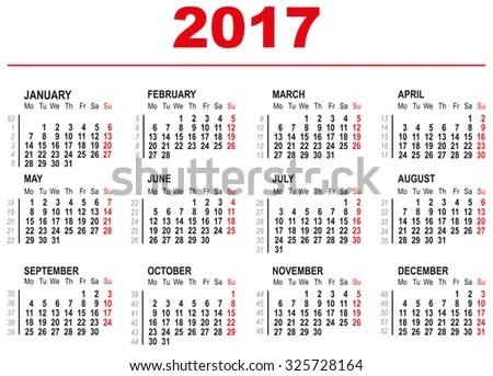 2017 Calendar Template Horizontal Weeks First Stock Vector 325728164 - 1 day calendar template