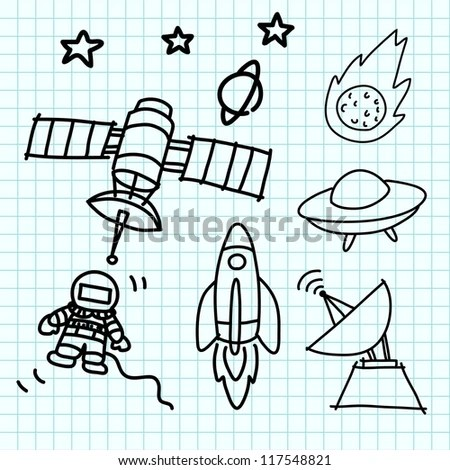 Space Set Hand Draw On Blue Stock Vector (2018) 117548821 - Shutterstock