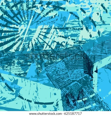 Blue Artistic Neogrunge Style Abstract Background Stock Vector