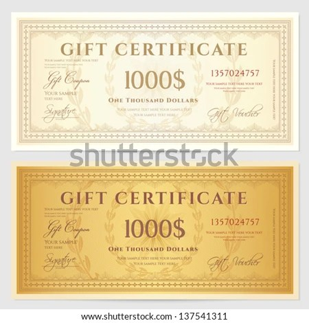 Gift Certificate Voucher Coupon Template Guilloche Stock Vector - money coupon template