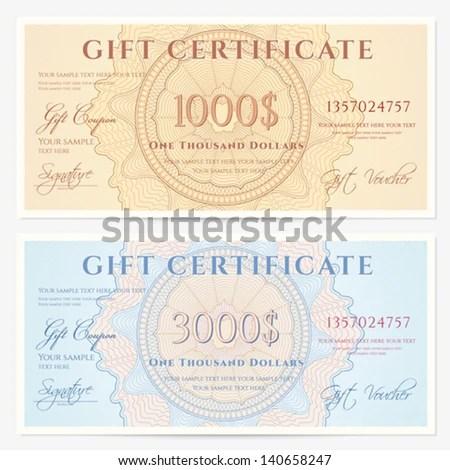 Gift Certificate Voucher Template Guilloche Pattern Stock Vector