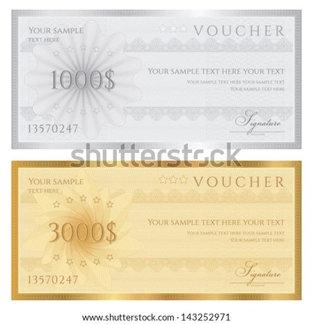 Gift Certificate Voucher Coupon Template Guilloche Stock Photo - gift certificate voucher template