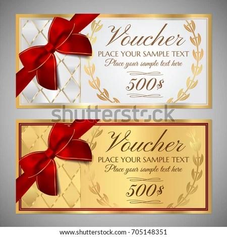 Voucher Gift Certificate Coupon Template Border Stock Vector - money coupon template
