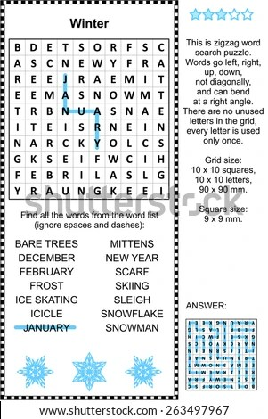 Winter Themed Zigzag Word Search Puzzle Stock Illustration 263497967
