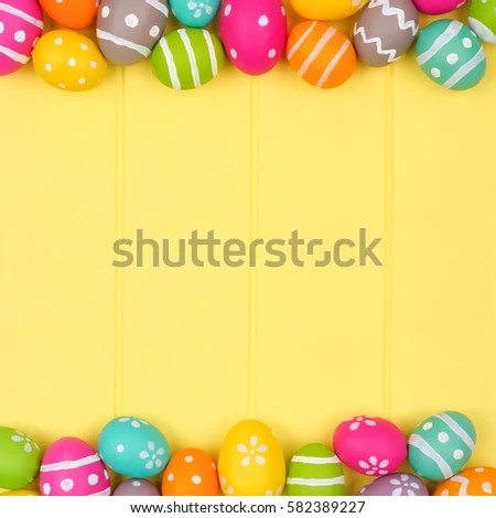 Colorful Easter Egg Double Border Against Stock Photo (Royalty Free