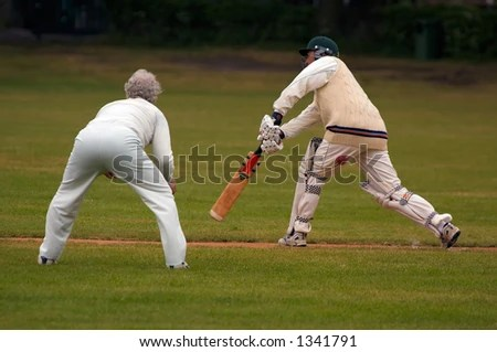 Action Photo People Playing Cricket Stock Photo (Royalty Free