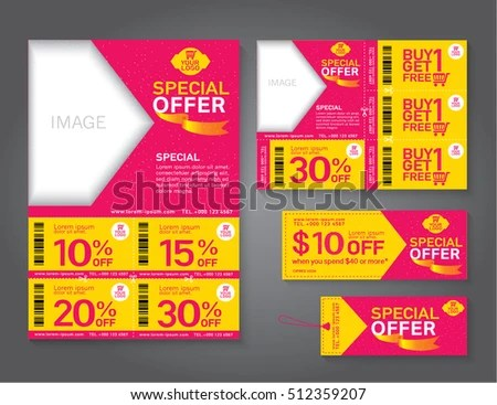 Sale Flyer Promotions Coupon Banner Design Stock Photo (Photo
