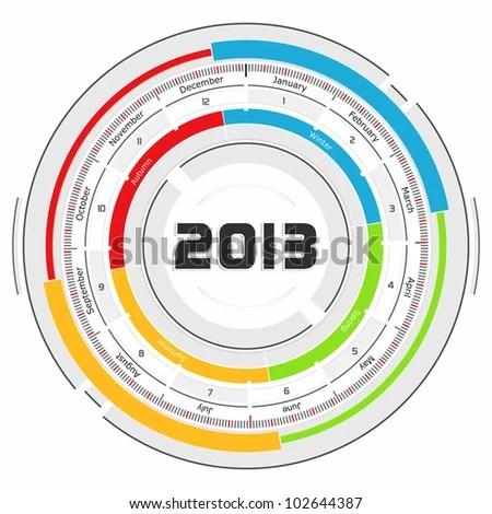 2013 Circular Calendar Futuristic Concept Design Stock Illustration - circular calendar