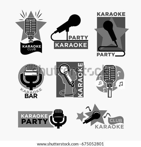 Karaoke Club Disco Party Labels Templates Stock Photo (Photo, Vector