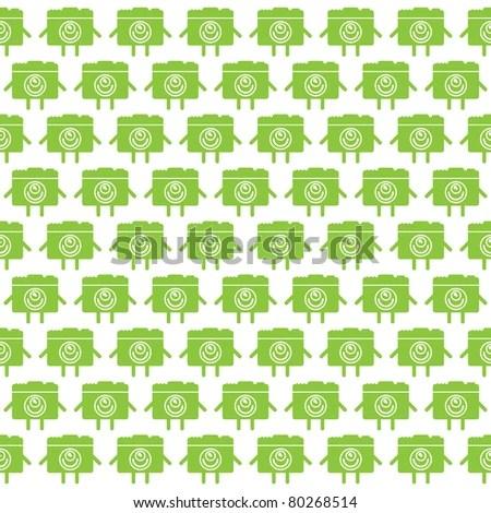 Nonsuture Pattern Cute Green Alive Photo Stock Vector 80268514