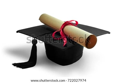 Black Graduate Cap Diploma Roll Paper Stock Photo (Safe to Use - Graduation Certificate Paper
