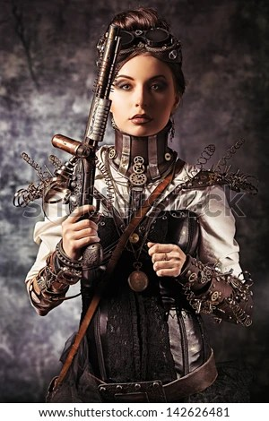 Steampung Girl Holding Skull Wallpaper Steampunk Stock Photos Royalty Free Images Amp Vectors