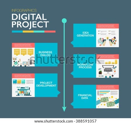 Timeline Infographics Template Material Design Layout Stock Vector - advertising timeline template