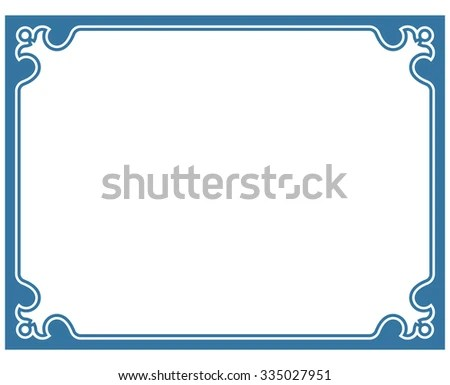 Blue Border Frame Deco Vector Label Stock Vector (Royalty Free
