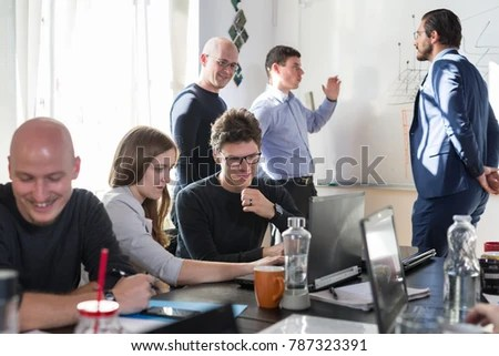 Relaxed Informal Business Startup Company Meeting Stock Photo