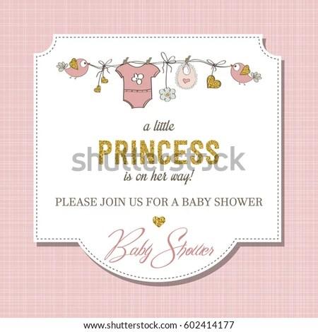 Beautiful Baby Shower Card Template Golden Stock Vector 602414177