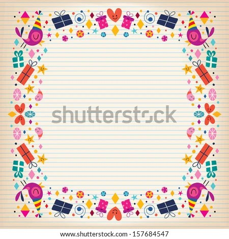 Happy Birthday Border Lined Paper Card Stock Vector 157684547 - lined border paper