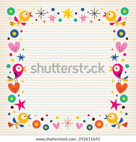 Birds Hearts Happy Border On Lined Stock Vector (2018) 292611641