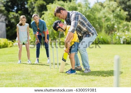Happy Family Playing Cricket Together Backyard Stock Photo (Edit Now