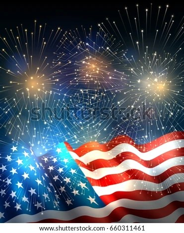 Patriotic Background American Flag Fireworks Background Stock Vector