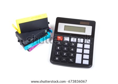 Stack Color Ink Printer Cartridges Simple Stock Photo (Royalty Free