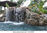 Waterfall Pool Luxury Backyard Tropical Landscaping Stock ...