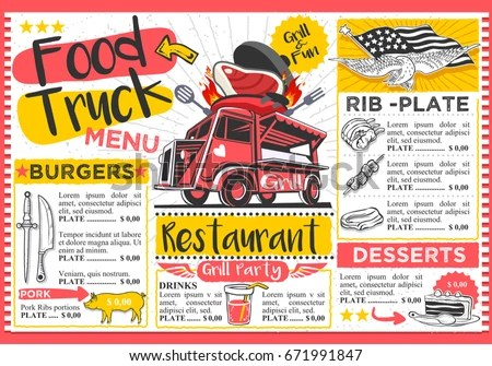 Food Truck Festival Vector Menu Template Stock Vector 671991847 - food truck menu template
