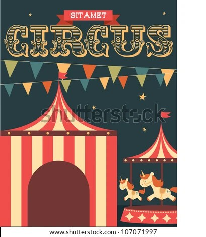 Vintage Circus Poster Template Vectorillustration Stock Vector