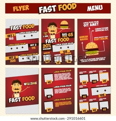 Fast Food Menu Flyer Template Set Stock Photo (Photo, Vector