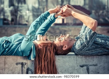 Happy young couple in love - stock photo