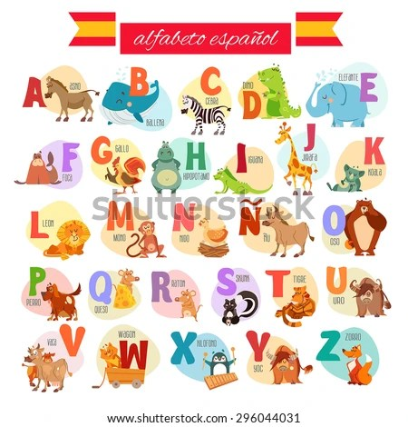 Cute Cartoon Spanish Illustrated Alphabet Animals Stock Vector - alphabet in spanish