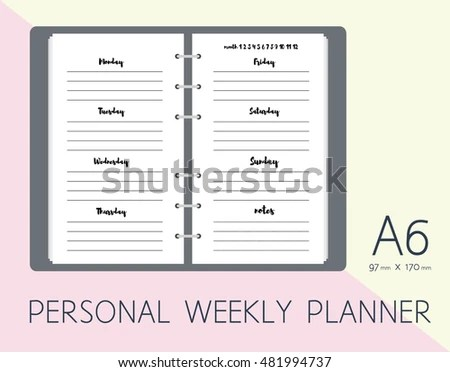 Personal Weekly Planner Page Diary Inserts Stock Photo (Photo