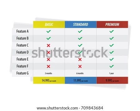 Vector Pricing Table Business Plans Basic Stock Photo (Photo, Vector