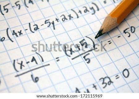 Math Problems On Graph Paper Pencil Stock Photo 172115972 - math graph paper
