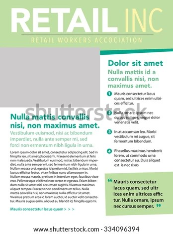 Business Newsletter Template List Pull Quote Stock Vector 334096394 - business newsletter