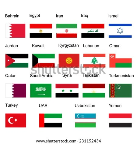 Middle East Vector Flag Set States Stock Vector 231152434 - Shutterstock