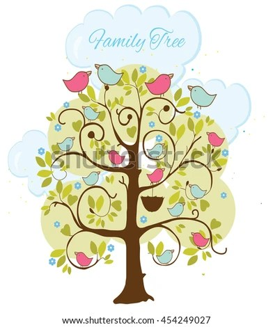 Colorful Illustration Patterned Family Tree Birds Vector Stock